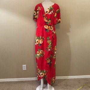 Plus Size 3X Wrap Dress Red rayon Floral Long maxi